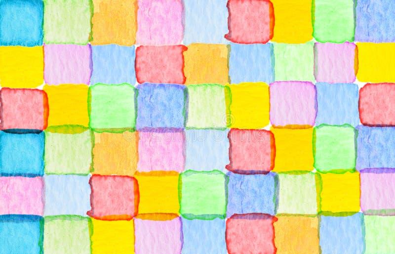 Fundo quadrado abstrato colorido da aquarela do teste padrão ilustração royalty free