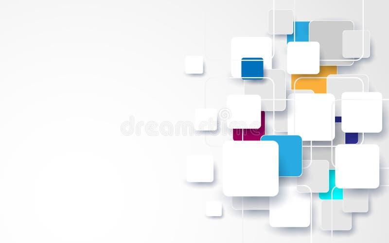 Fundo quadrado branco e colorido abstrato ilustração stock