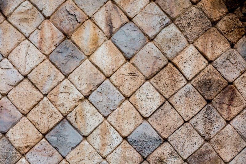 Fundo quadrado de pedra da textura da parede do bloco do tijolo imagem de stock royalty free