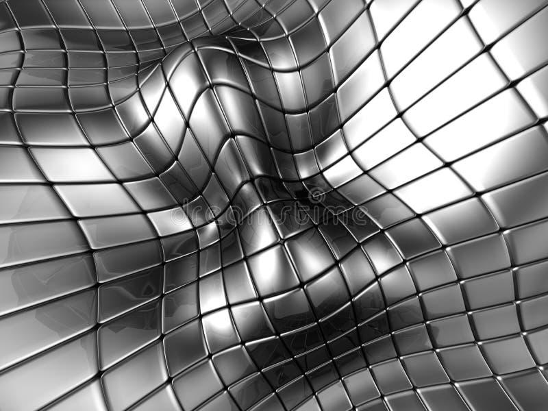 Fundo quadrado de prata de alumínio abstrato ilustração stock
