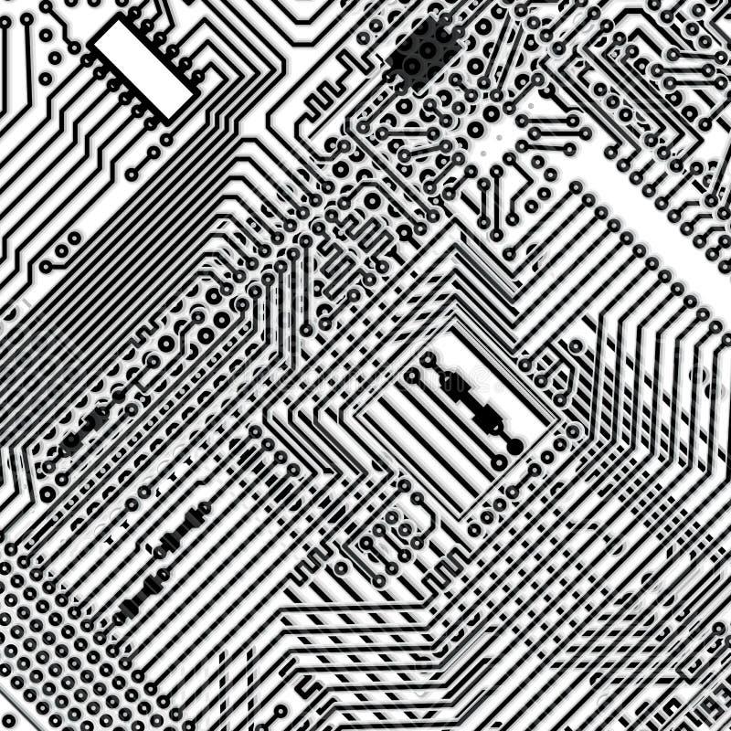 Fundo quadrado - placa de circuito eletrônico ilustração royalty free