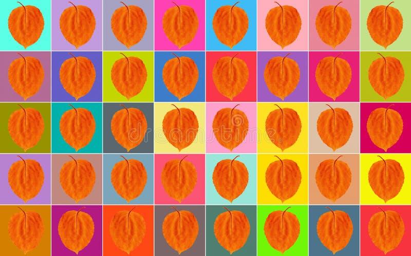 Fundo quadrados da Multi-cor com uma folha alaranjada foto de stock