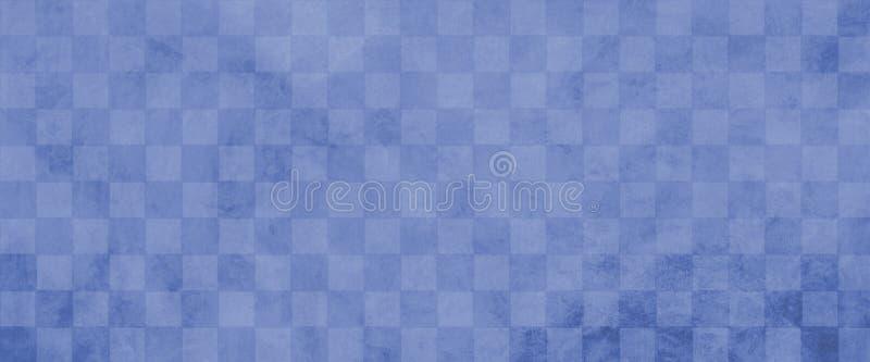 Fundo quadriculado afligido velho do teste padrão do bloco do vintage com textura azul macia do grunge ilustração do vetor