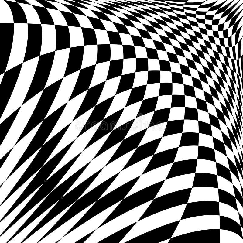 Fundo quadriculado da ilusão monocromática do projeto ilustração do vetor