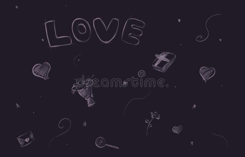 Fundo quadriculado do amor do Valentim com de corações ilustração royalty free