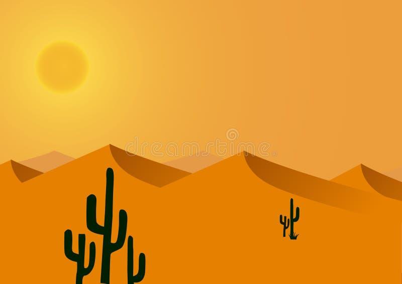Fundo quente e seco do deserto ilustração royalty free
