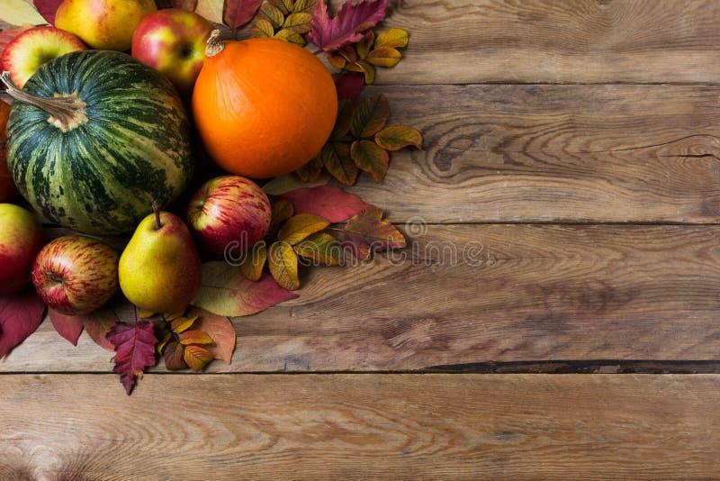 Fundo rústico da ação de graças com abóbora verde, polpa alaranjada da cebola, folhas da queda, maçãs e peras na tabela de madeir fotos de stock