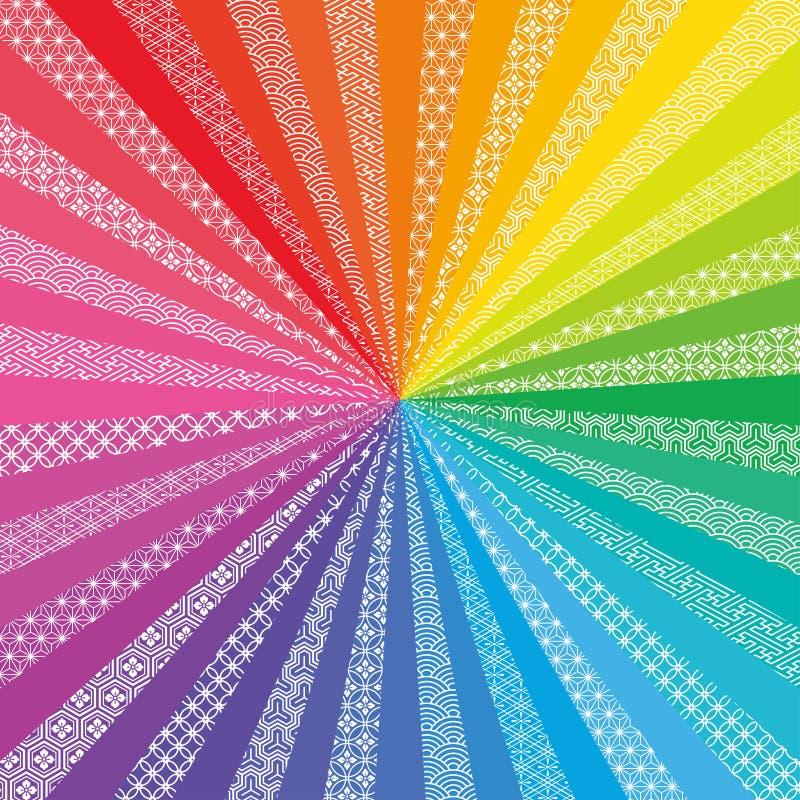 Fundo radial colorido com projeto tradicional japonês ilustração stock