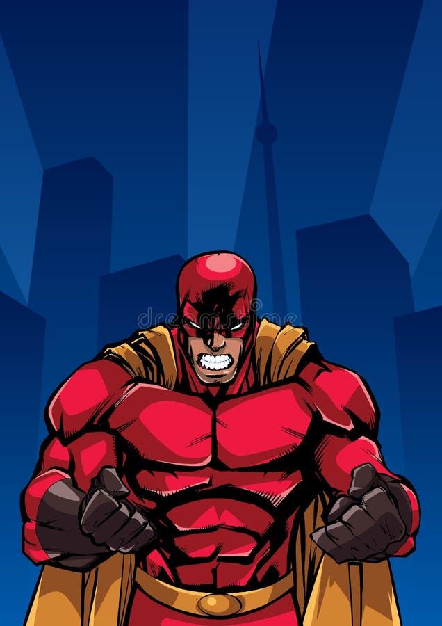 Fundo Raging da cidade do super-herói ilustração royalty free