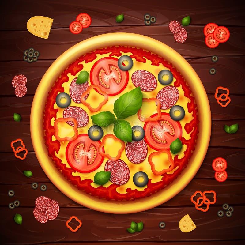 Fundo realístico da receita ou do menu da pizza do vetor ilustração stock