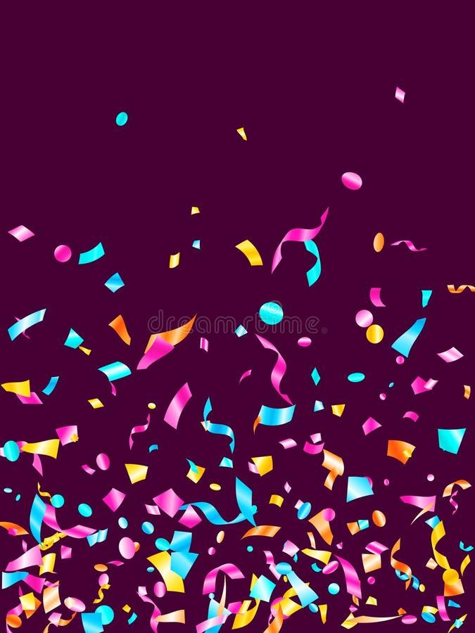 Fundo realístico do vetor do voo dos confetes do feriado amarelo azul ciano cor-de-rosa da folha ilustração royalty free