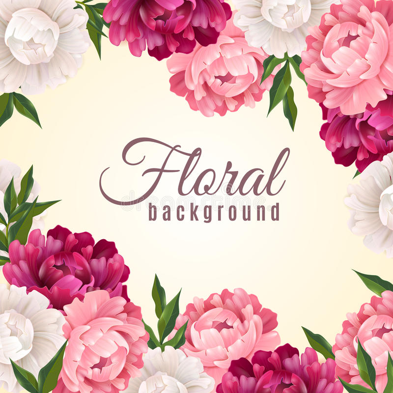 Fundo realístico floral ilustração stock