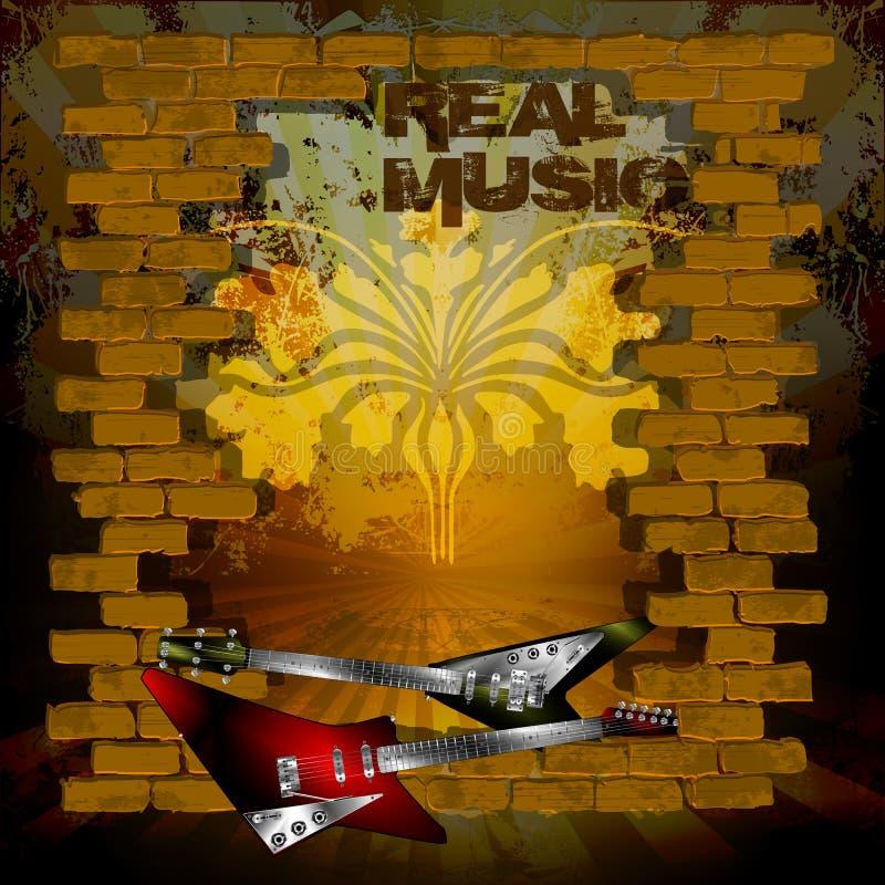 Fundo real do grunge da música com alvenaria do tijolo e guitarra da rocha ilustração stock