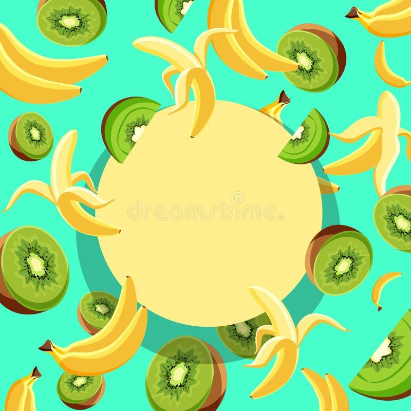 Fundo redondo amarelo com bananas e quivi ilustração do vetor