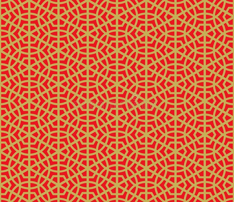 Fundo redondo chinês sem emenda dourado do teste padrão da geometria do polígono ilustração do vetor