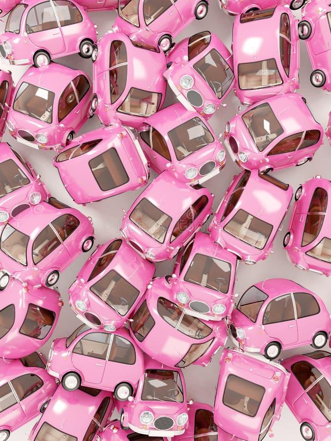 Fundo redondo cor-de-rosa do carro imagens de stock