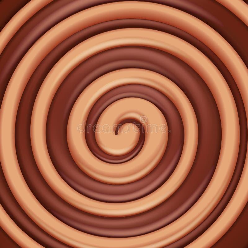Fundo redondo do redemoinho do caramelo e do chocolate ilustração do vetor
