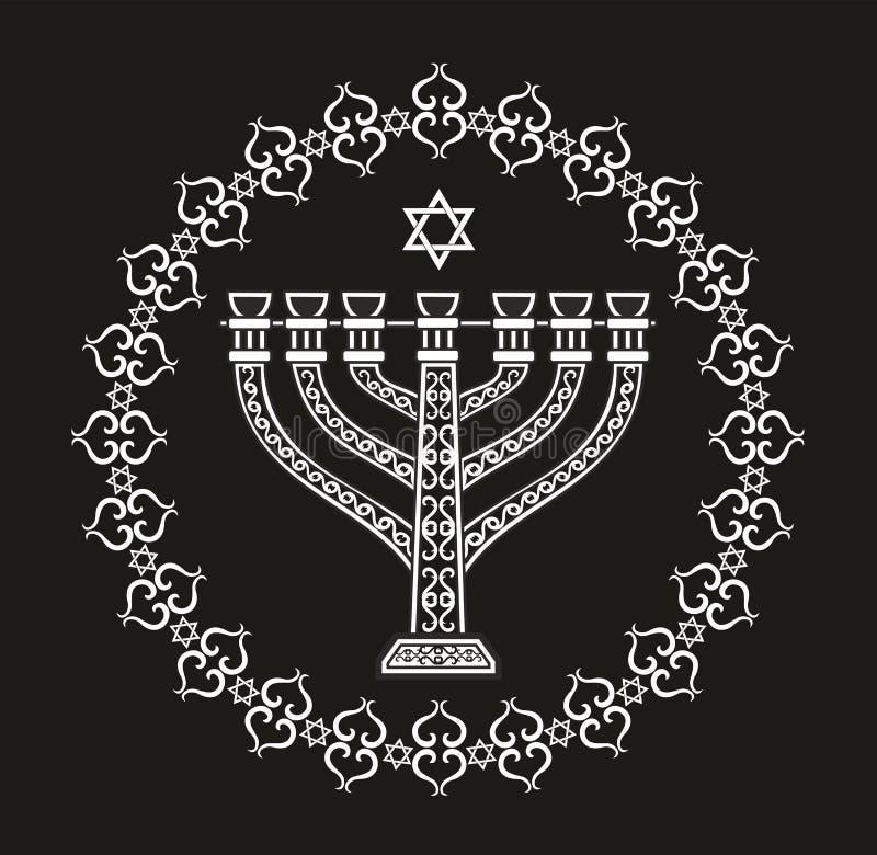 Fundo religioso do feriado judaico com menorah ilustração stock