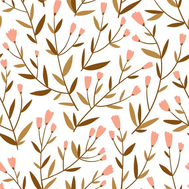Fundo repetido com ramos delicados e as flores pequenas Teste padrão sem emenda do vetor floral bonito ilustração royalty free