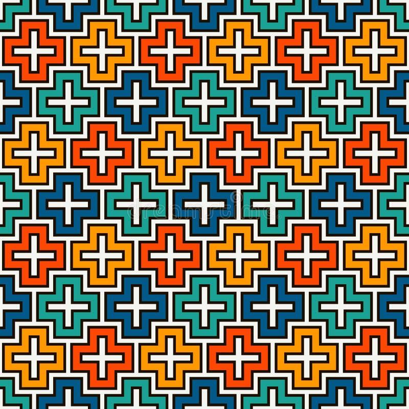 Fundo repetido do sumário do mosaico do enigma Teste padrão sem emenda com o ornamento geométrico simples Textura de superfície d ilustração royalty free