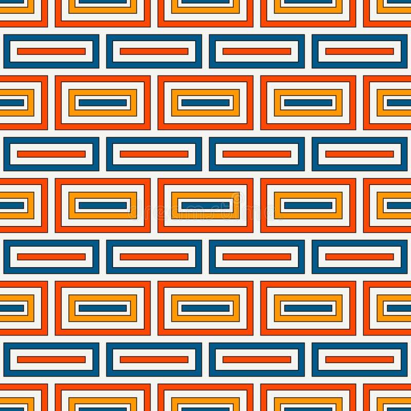 Fundo retangular repetido dos blocos Motivo dos tijolos Teste padrão sem emenda das cores retros com o ornamento geométrico simpl ilustração stock