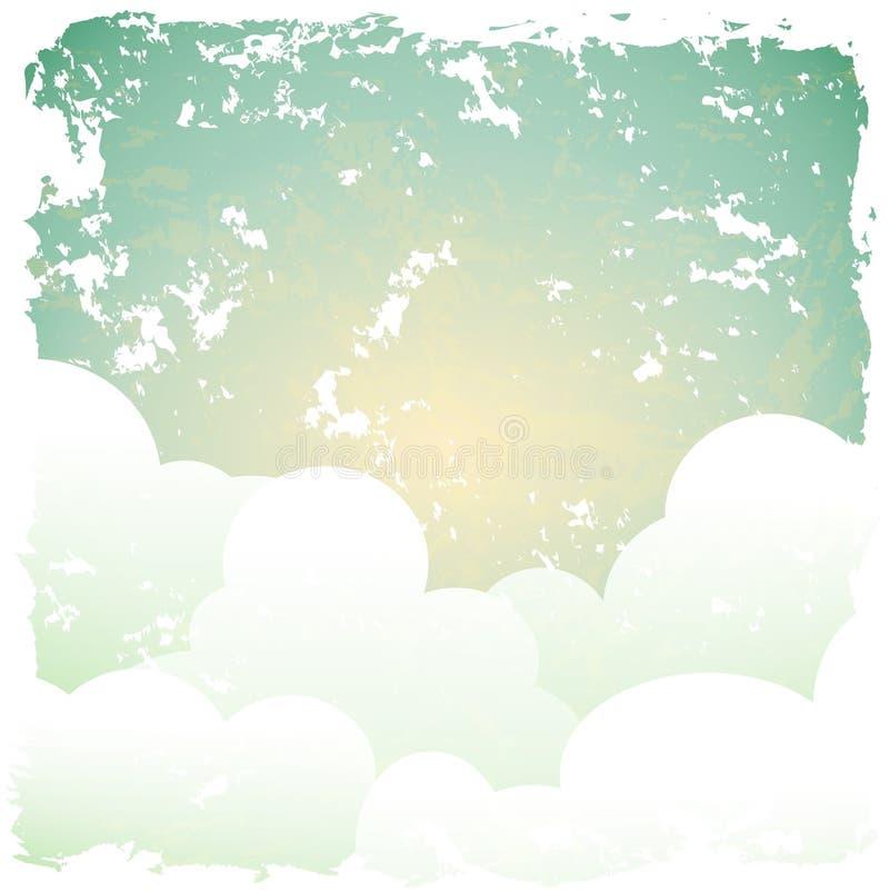 Fundo retro abstrato com céu azul e nuvens ilustração royalty free