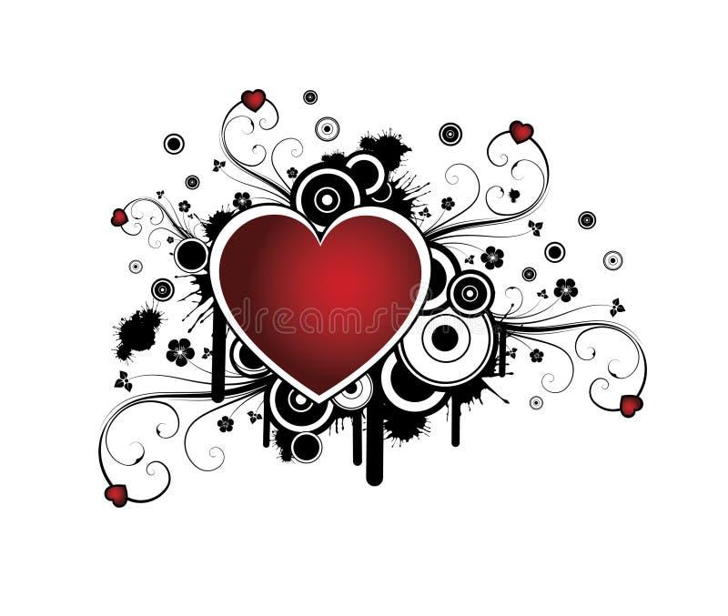 Fundo retro com coração ilustração royalty free