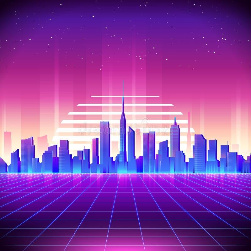 fundo retro da ficção científica 80s com skyline da cidade da noite ilustração stock