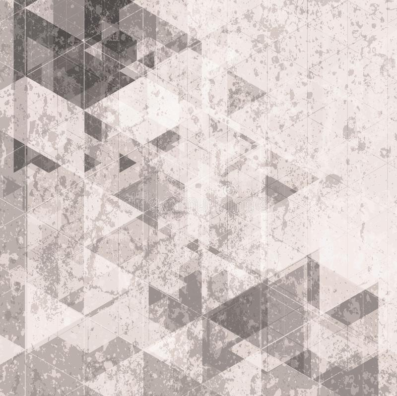 Fundo retro da tecnologia do Grunge Teste padrão dos triângulos ilustração royalty free