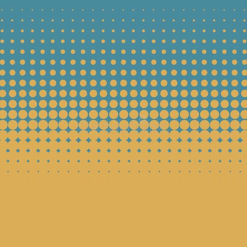 Fundo retro de intervalo mínimo artístico do vetor da cor com os pontos amarelos no fundo azul ilustração stock