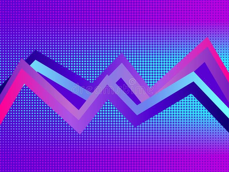 Fundo retro do futurismo Pontos do pop art com inclinação violeta, reticulação Synthwave Retrowave Vetor ilustração do vetor