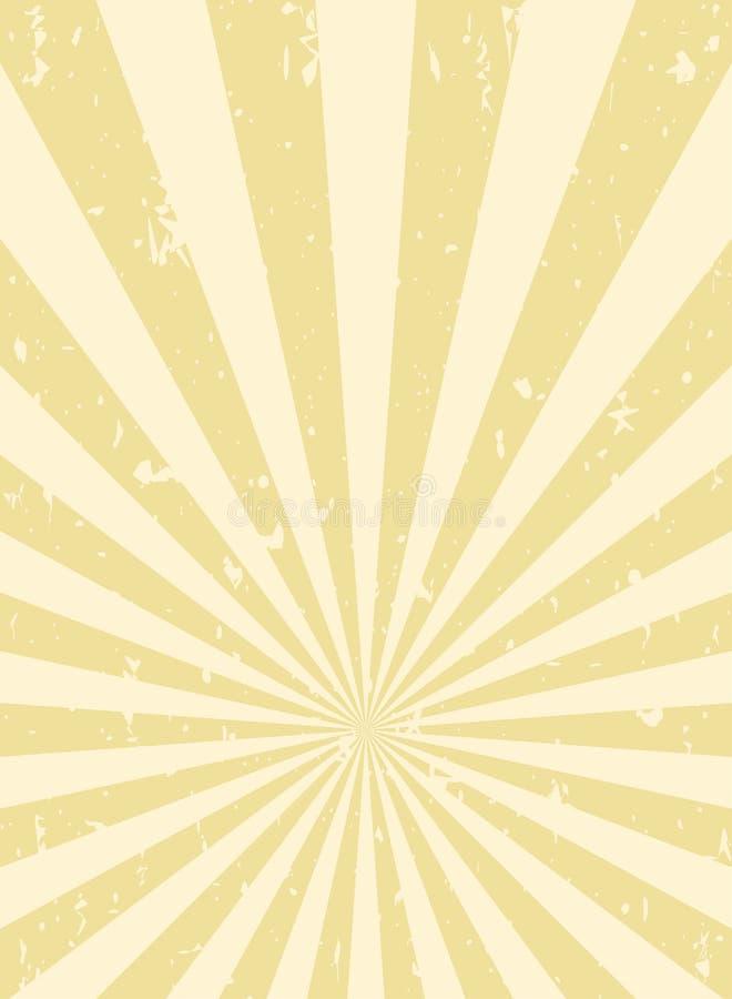 Fundo retro do grunge da luz solar fundo da explosão do ouro amarelo Ilustração do vetor ilustração stock