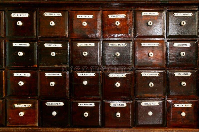 Fundo retro do lote de gavetas marrons de madeira velhas do farmacêutico com etiquetas fotos de stock royalty free