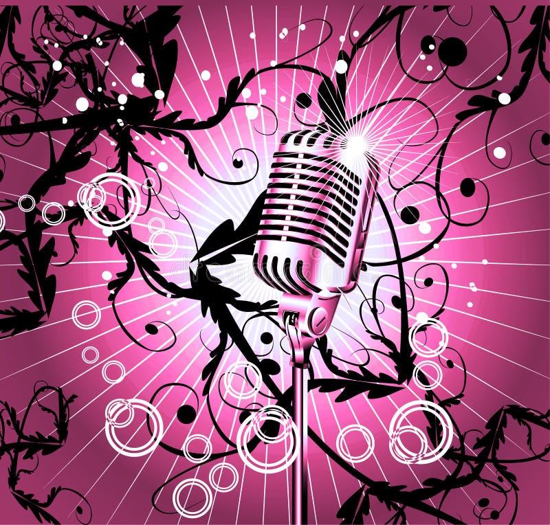 Fundo retro do microfone ilustração stock