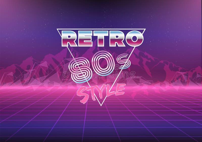 Fundo retro do néon dos anos 80 80s ilustração royalty free