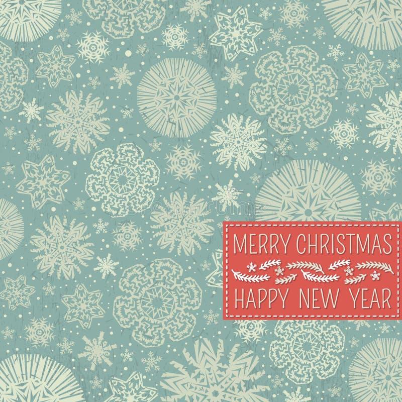Fundo retro do Natal com flocos de neve e laboratório ilustração royalty free