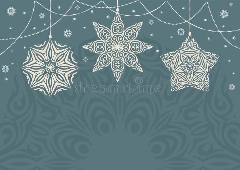 Fundo retro do Natal com os flocos de neve brancos no fundo azul ilustração royalty free