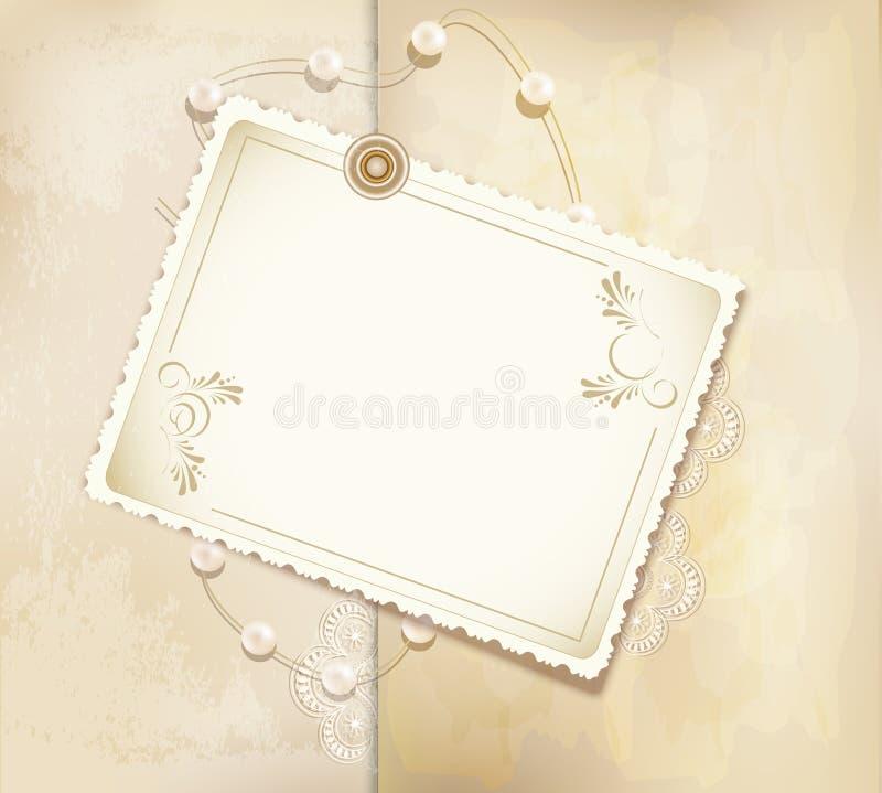 Fundo retro do ouro das felicitações com pérolas ilustração royalty free