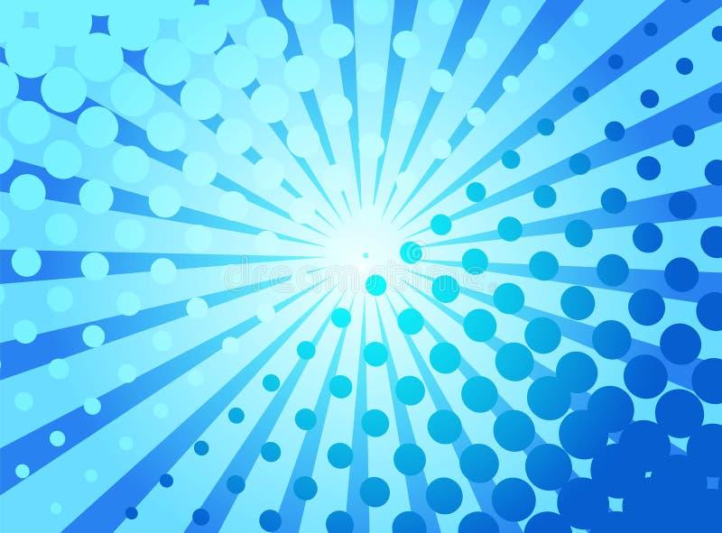 Fundo retro do pop art azul com os raios e os pontos de explosão cômicos ilustração do vetor