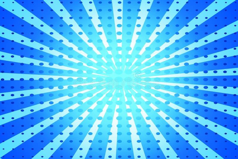 Fundo retro do pop art azul com os raios e os pontos de explosão cômicos ilustração stock