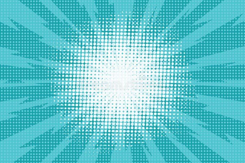 Fundo retro do pop art azul com raios de explosão do relâmpago c ilustração stock