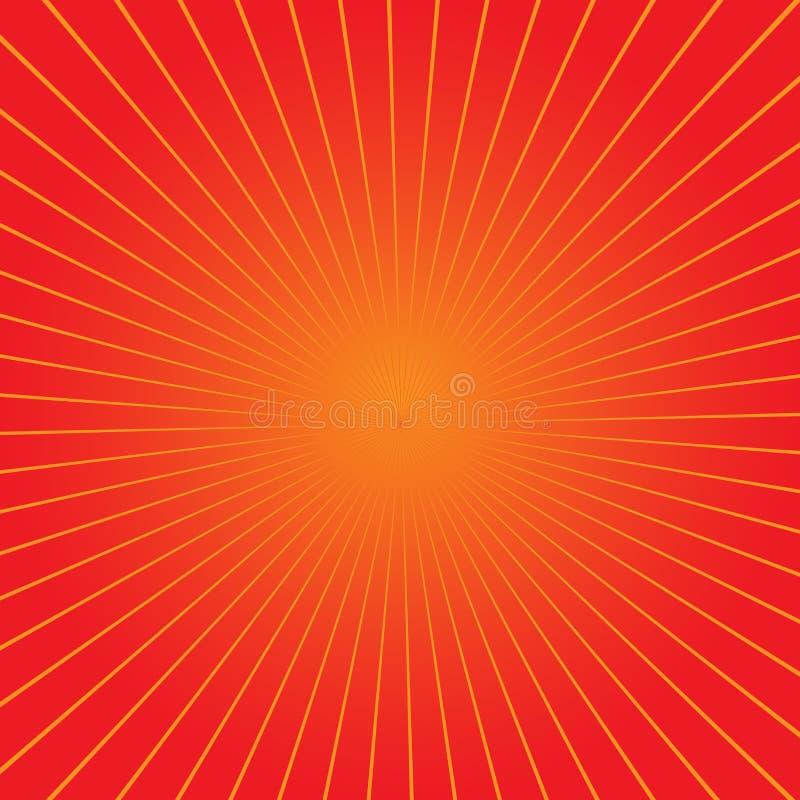 Fundo retro do sunburst com raios Ilustração do vetor Projeto moderno alaranjado e amarelo ilustração stock