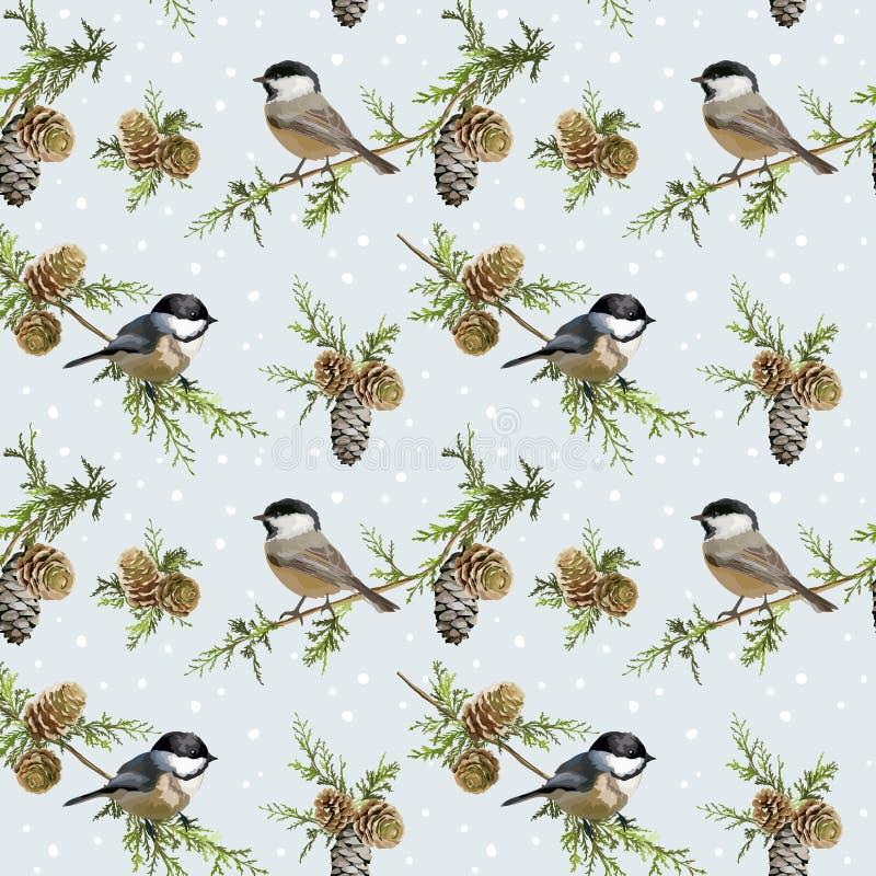 Fundo retro dos pássaros do inverno ilustração royalty free