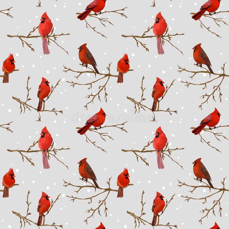Fundo retro dos pássaros do inverno ilustração stock