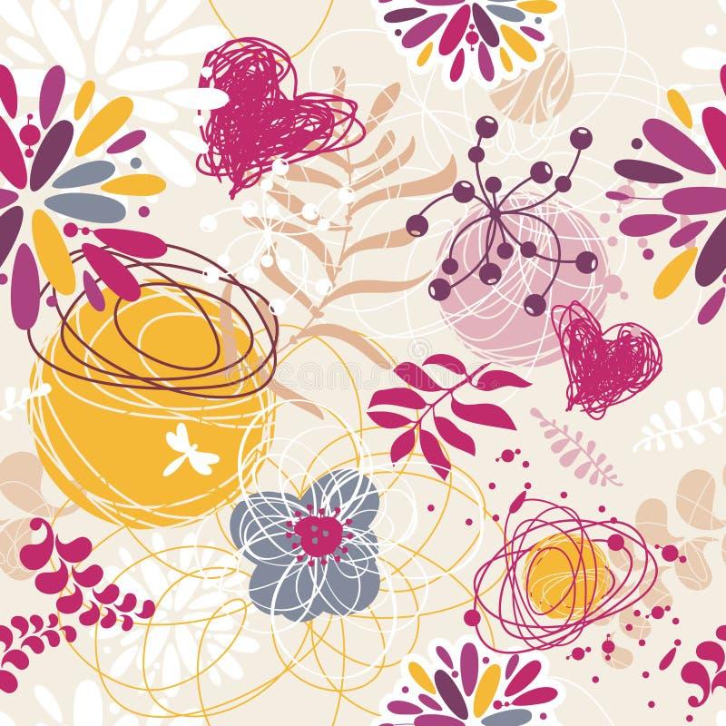 Fundo retro floral sem emenda abstrato ilustração stock