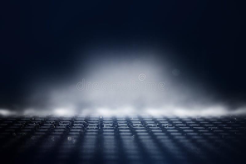 Fundo retro futurista do estilo retro de 80 ` s Digitas ou superf?cie do Cyber luzes de n?on e teste padr?o geom?trico ilustração stock