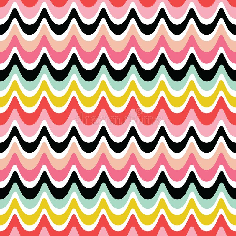 Fundo retro sem emenda colorido das ondas - cores brilhantes vermelhas do rosa ilustração do vetor