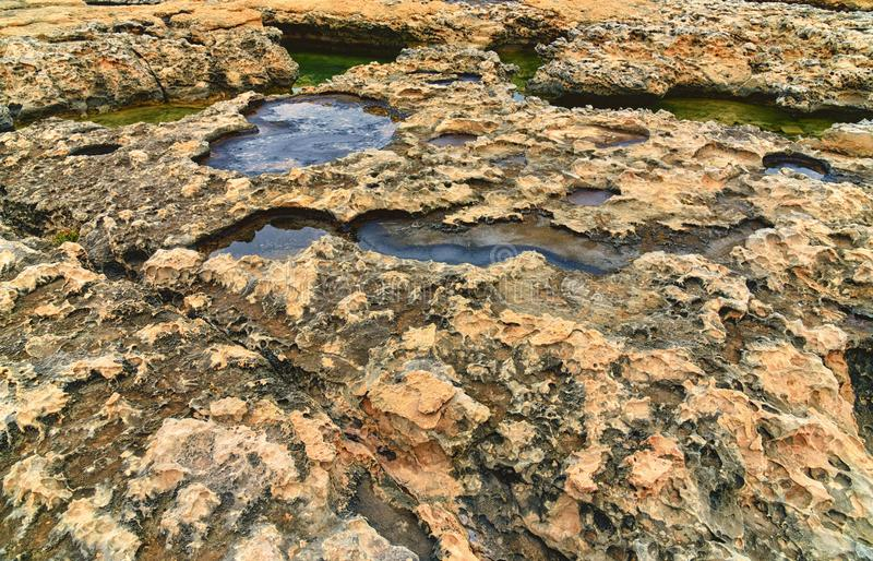 Fundo rochoso do penhasco, beira-mar da ilha de Gozo, Malta imagens de stock