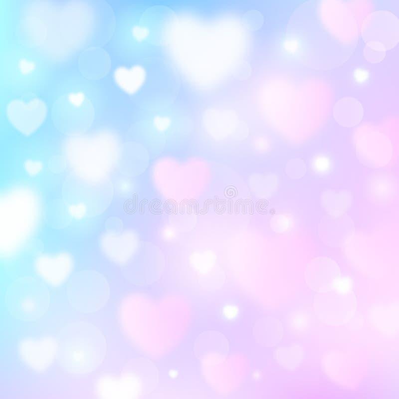 Fundo romântico abstrato com corações e luzes do bokeh ilustração stock