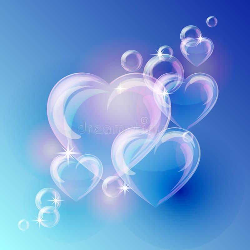 Fundo romântico com formas dos corações da bolha sobre ilustração do vetor